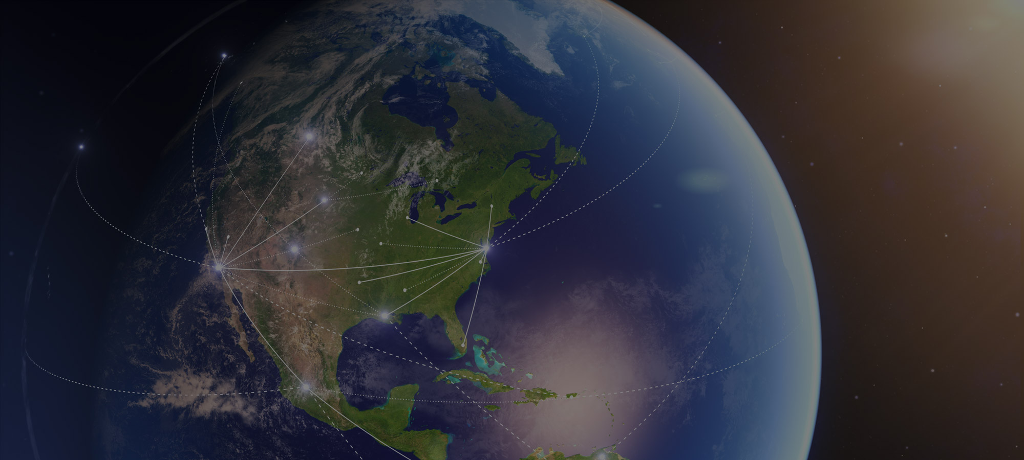 Outer space view of North America